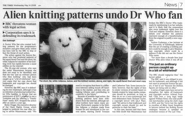 Alien Knitting Patterns Undo Dr Who Fan The Doctor Who Cuttings